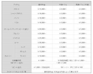 パターン料金表